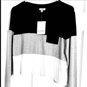 LOVE FIRE COLOR BLOCK LONG SLEEVE COMBO SWEATER